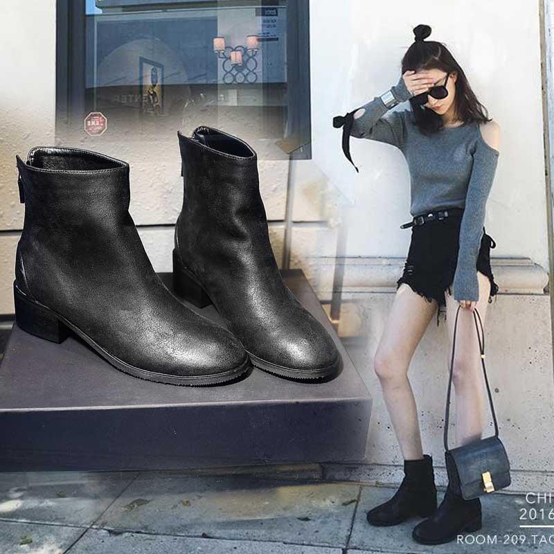 Vente chaude-Hiver 2019 Femme Bottes Vintage Zip Noir Carré Med Talons Bottes Femmes Flock Streetwear Femme Martin Ankle Chaussures Femme