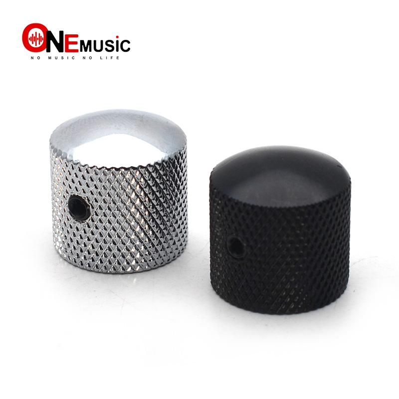 20pcs Metal Dome Tone Tunning Knob with Hexagon Screws Lock Volume Control Buttons for Electric Guitar Bass Black/Chrome