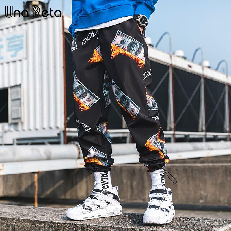 Pantaloni Harem da uomo all'ingrosso 2019 Primavera estate New Hip Hop Uomo US dollar print Pantaloni Fashion Streetwear Pantaloni casual