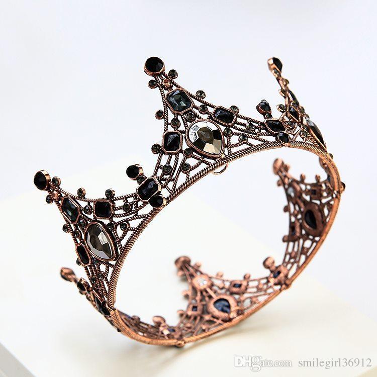Queen Bridal Wedding Crystal Round Baroque Gold Crown Tiara Headbands Headpiece