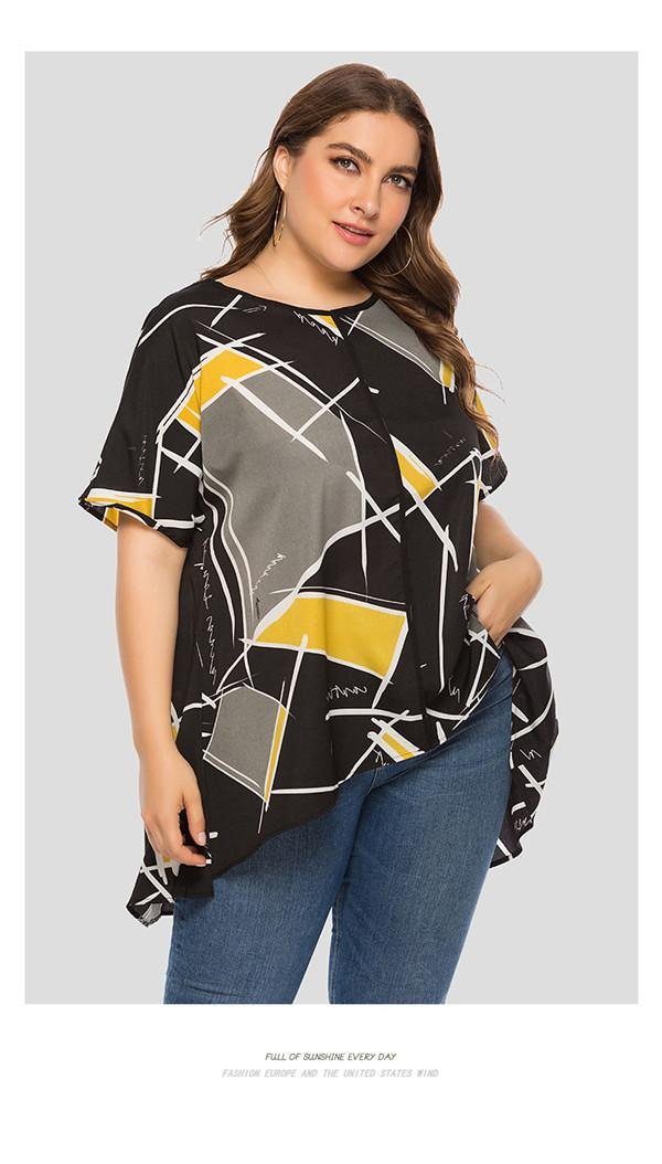 Womens Plus Size Loose Tshirts Summer Designer Geometric Contrast Color Print Tees Females Irregular Crew Neck Short Sleeve Tops