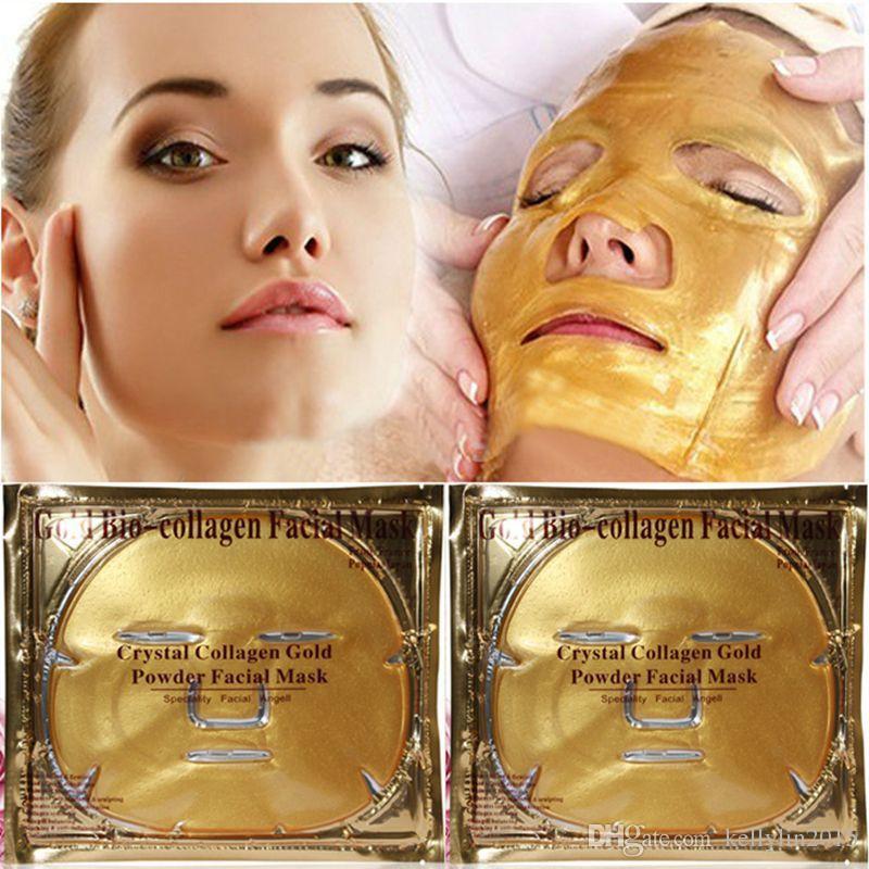 Crystal Collagen Facial Mask Gold Powder Skin Care Moisturising Gold Bio Collagen Face Mask Sheet Sleep Cosmetic Beauty masque