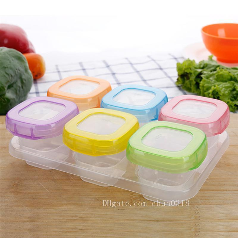 8 Multi Colour Plastic Food Containers Baby Mini Weaning Freezing Pots UK POST