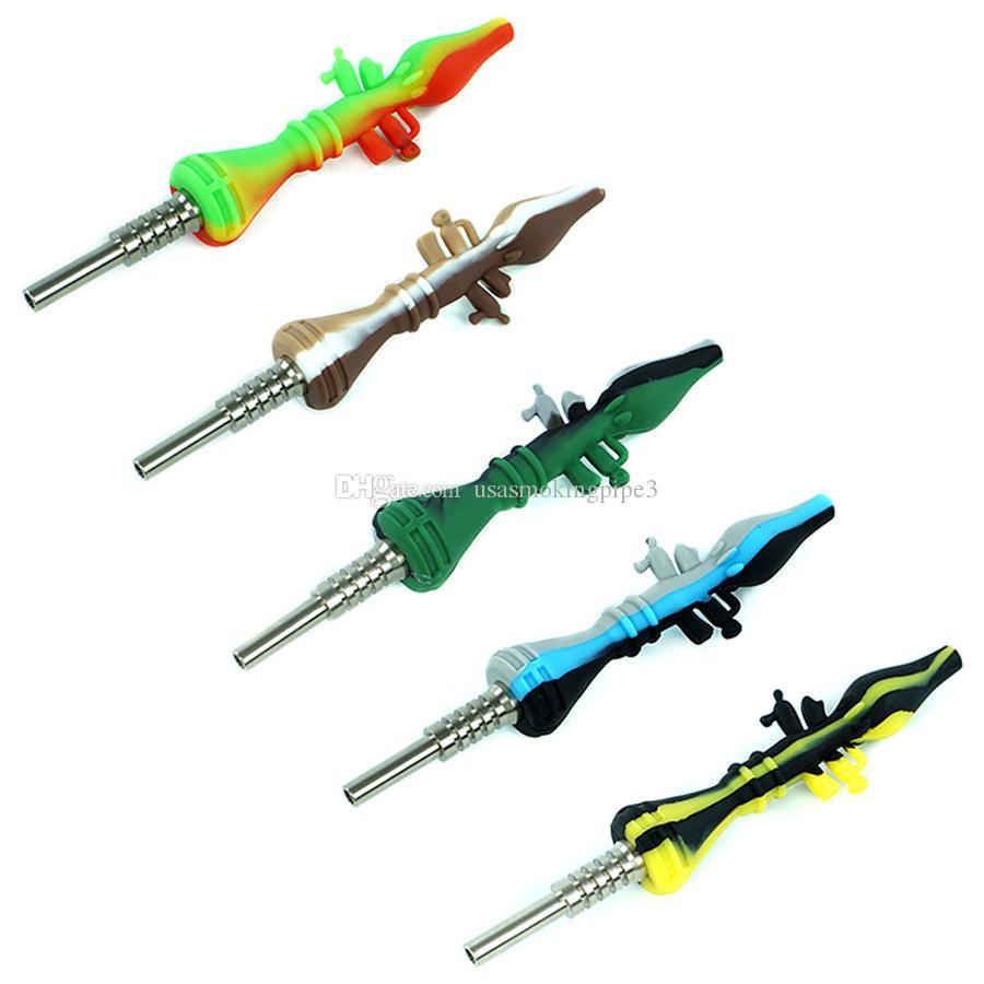 14 mm de titanio Rocket Launcher uñas fumar kits de tubos de cristal Mini Tubería de aceite concentrado de paja Rig Dab Bong de paja con