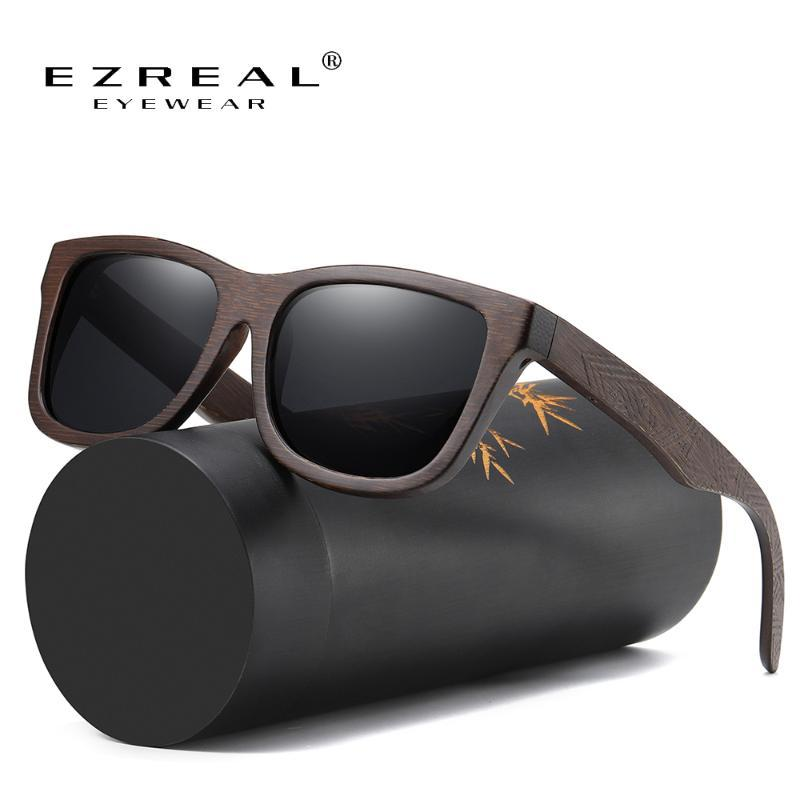 Ezreal Природные поляризованные Деревянные солнцезащитные очки Мужчины солнцезащитные очки Bamboo женщин Марка оригинальные деревянные очки S3833