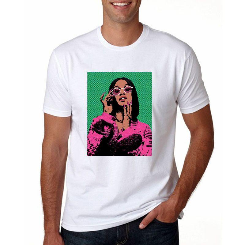Карди.B Футболка Мужчины Карди.B искусство смешно письмо рубашка женщины лето хлопок О-образным вырезом топы американский рэп-певец футболка унисекс