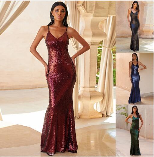 cinghia delle 2020 donne di estate nuove sexy colore solido paillettes abito da sera coda di pesce Abiti