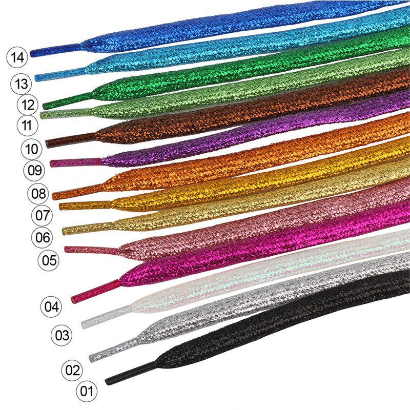 flach farbige Skate Schnürsenkel Schnürsenkel silber