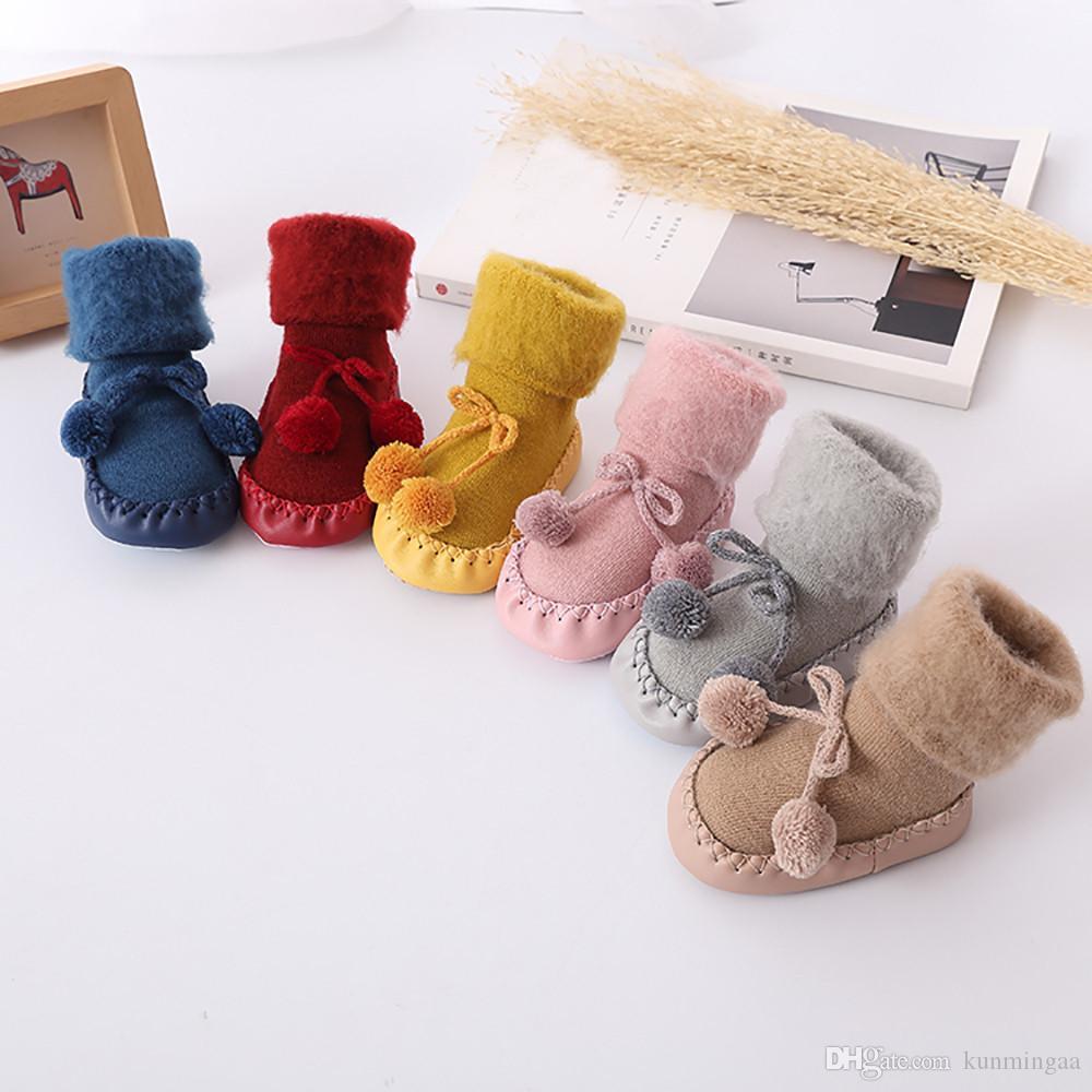 bebé del invierno calcetines calentadores de la pierna del muchacho del bebé enfant niños del algodón del piso Calcetines antideslizantes del bebé Paso Calcetines