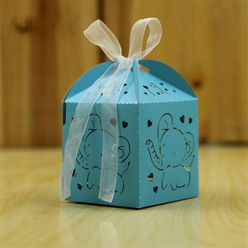 100 adet Vaftiz Parti iyilik Sevimli Bebek Fil Favor Kutuları Erkek / Giel Bebek Duş Hediye Şeker Kutusu Vaftiz Hatıra Kutusu