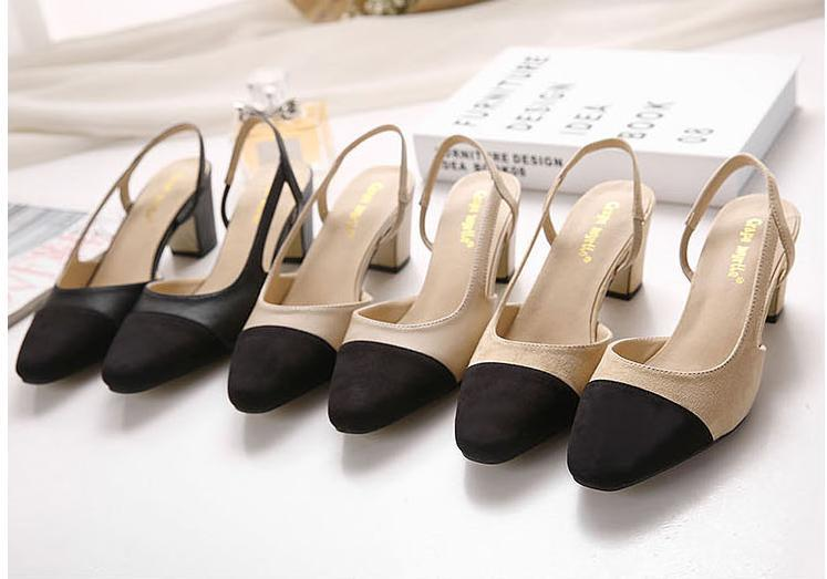 Heißer Verkauf-Neue Frauen Arbeitsschuhe Patchwork Schwarz Beige Chunky Heel Sling Zurück Bequeme Schuhe Größe 34 Bis 39