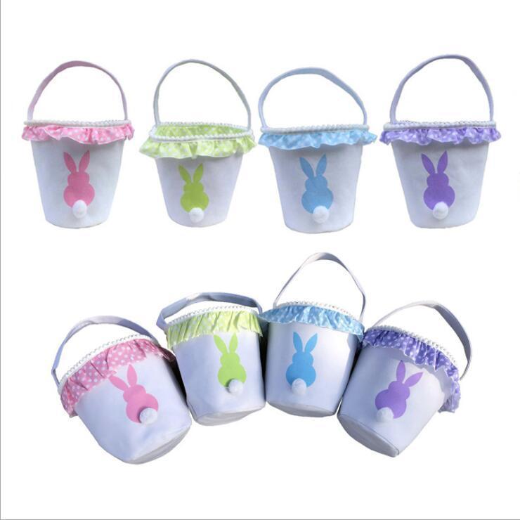 Pâques Bucket Lapin de Pâques Paniers queue de lapin Fluffy Seaux dentelle toile sacs à main de Pâques Bonbons chasse aux oeufs Sacs à main enfants cadeau fourre-tout