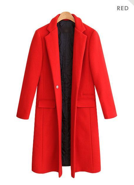 Red Black Long Wool Coat Solid Slim Long Wool Blend Coat and Jacket Single Button Warm Women Coats Autumn Winter SH190928