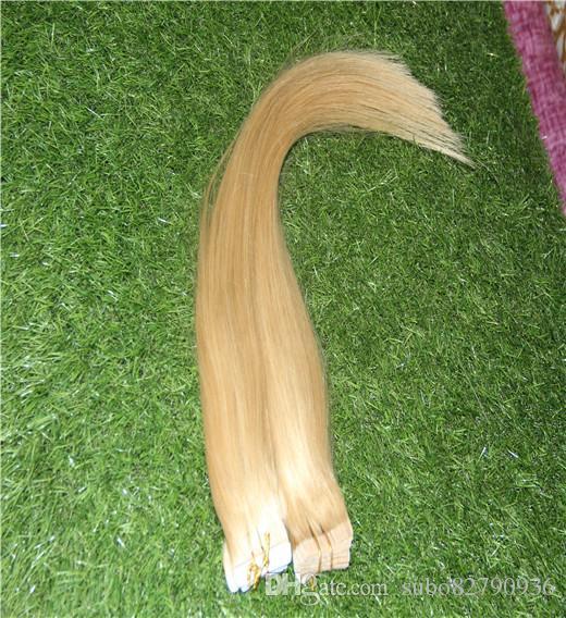 ذهبية شقراء اللون 100 ٪ الشريط في الشعر الإنسان 10-30 بوصة ريمي الشعر ملحقات 10-30 بوصة الجلد لحمة مستقيم الشعر التمديد