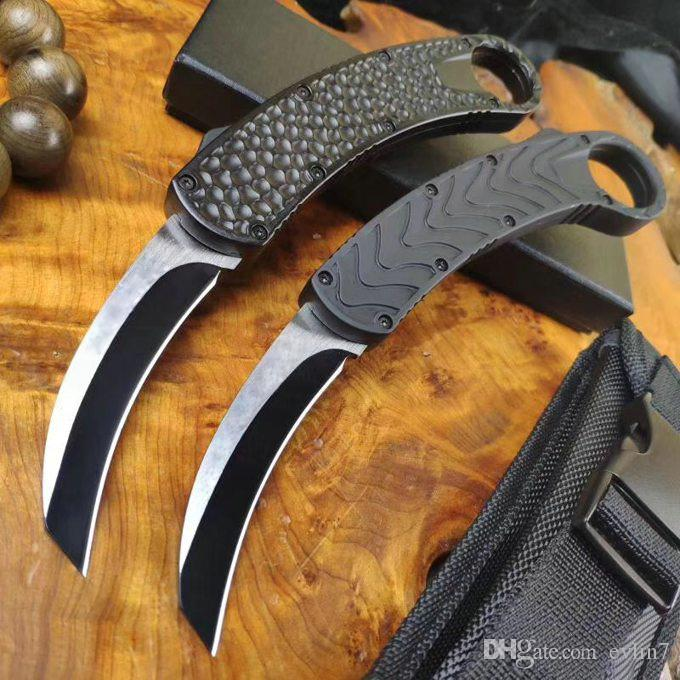 Fast Shipping New Auto Tactical Karambit Claw Knife 440C Wire Drawing Blade Aluminum Alloy Handle With Nylon Sheath