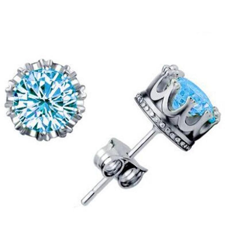 أقراط للبنات الأزياء والمجوهرات هدايا مكعب زركونيا جولة النساء الرجال 925 فضة الزركون كريستال الماس سحر أقراط الأزرار