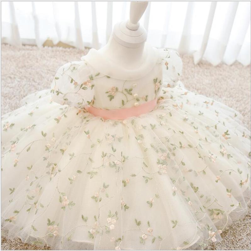 Цветочных тюль платья принцессы Дети девушки Свадебной Pageant партия мантия шарик девушок цветок вечер Costume Святое Причастие Платье