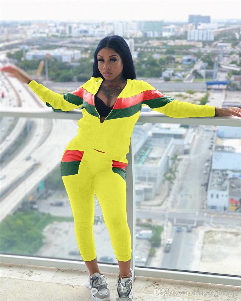Femmes rayé imprimé 2PCS Ensembles de mode lambrissé manches longues Costume de sport pour femmes Survêtements