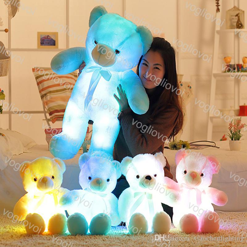 Novedad iluminación oso peluche muñeca animales juguetes tamaño 30 cm 50 cm luces de vacaciones para niños regalo de navidad peluche peluche DHL