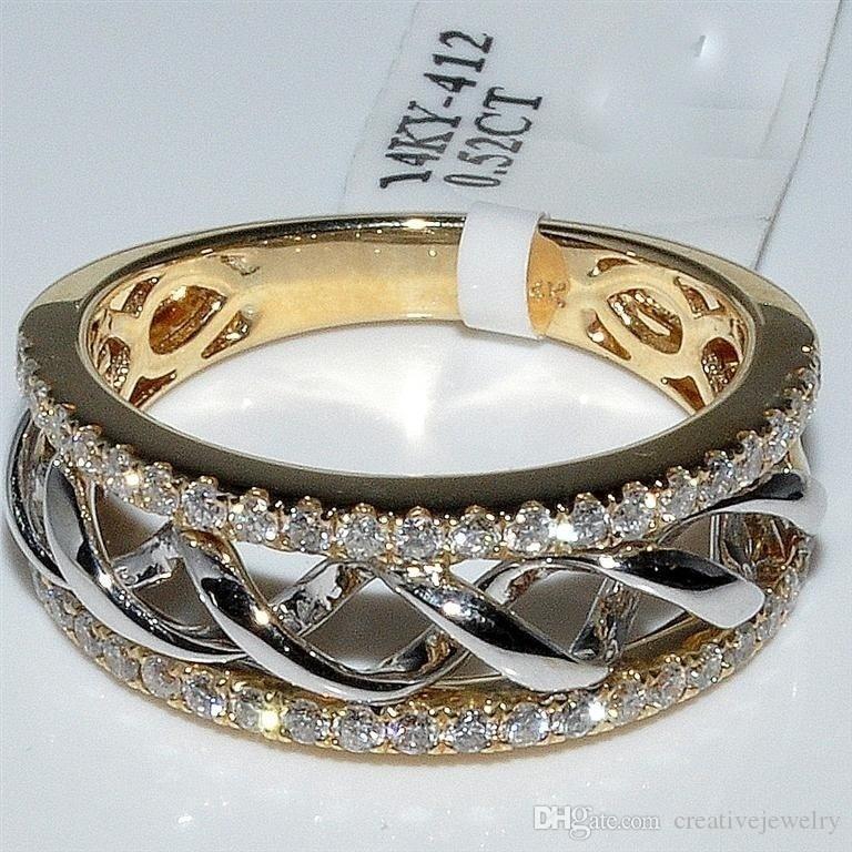 Señoras plata esterlina 925 18k Oro Amarillo Dos Tonos Retorcido Diamante Anillo