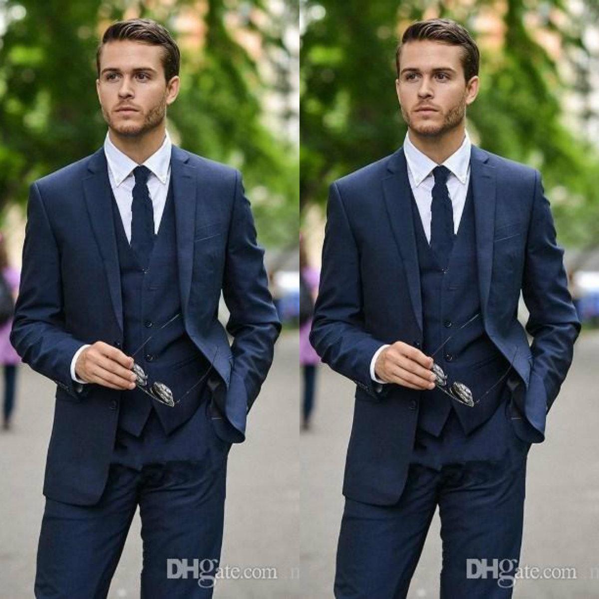 Bleu marine pour hommes Costumes smokings marié Notch Lapel Hommes Costumes de mariage Blazer Custom Made 3 Pieces Costume (veste + pantalon + veste + cravate)