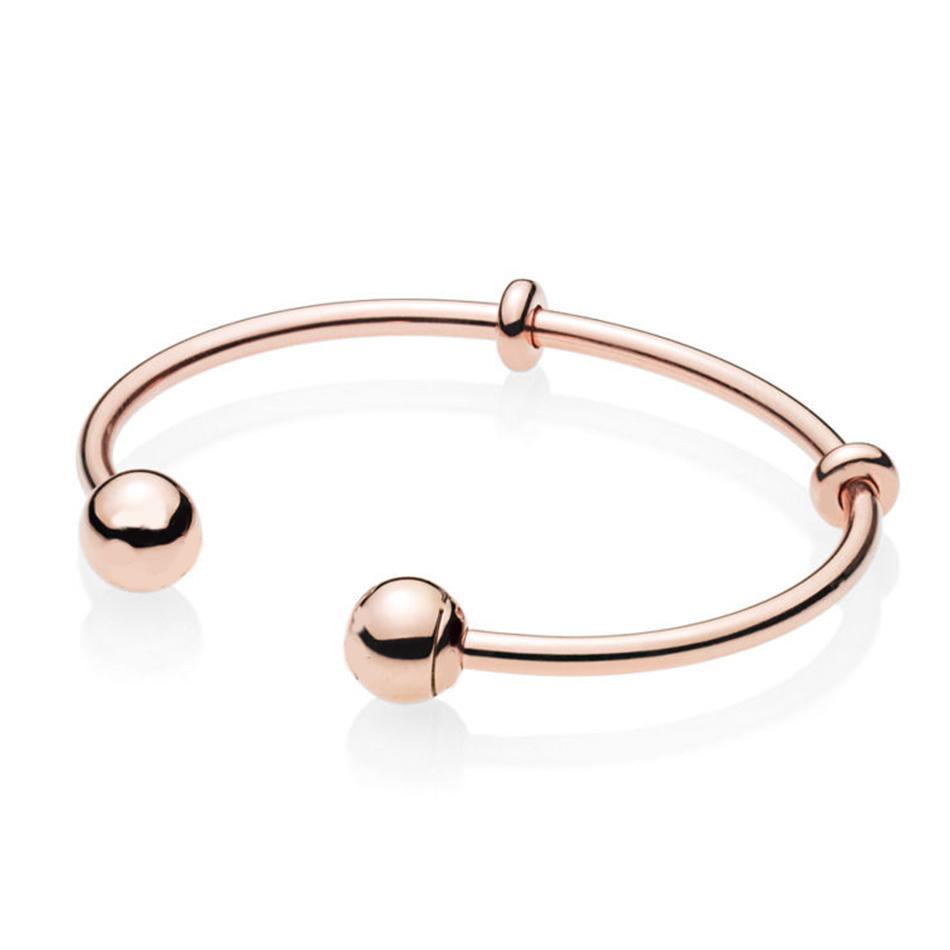 Autentico 925 Silver Rose Apri braccialetto con firma del catenaccio del braccialetto del braccialetto misura i monili Lady Bead fascino del pendente fai da te