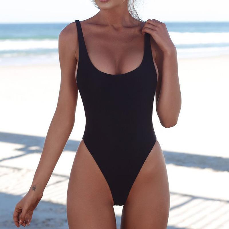 Traje de baño de las mujeres atractivas de la correa traje de baño traje de corte alto traje de baño sin respaldo Swim Negro Blanco Mujer Bikinis para el verano Natación Sólido Blanco Negro