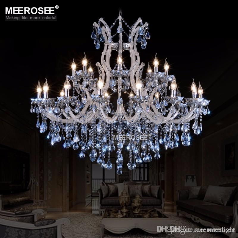 Large European style crystal candle lamp 24-light colored glass massive chandelier hotel hallway decorative lighting fixture vintage