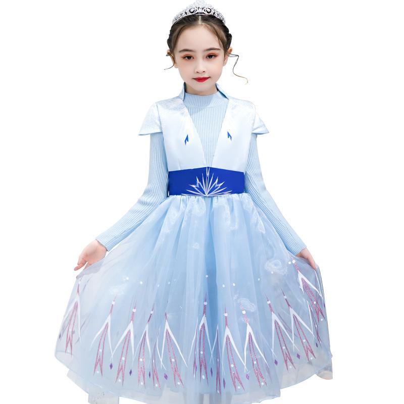 Cosplay traje de Snow Queen II para los vestidos de partido de las muchachas suéter falso de dos piezas de encaje princesa Carnival Kid Frock ropa de los niños M949