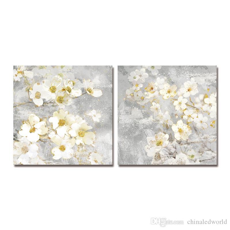 DYC 10059 2шт белые цветы принт-арт готов повесить картины