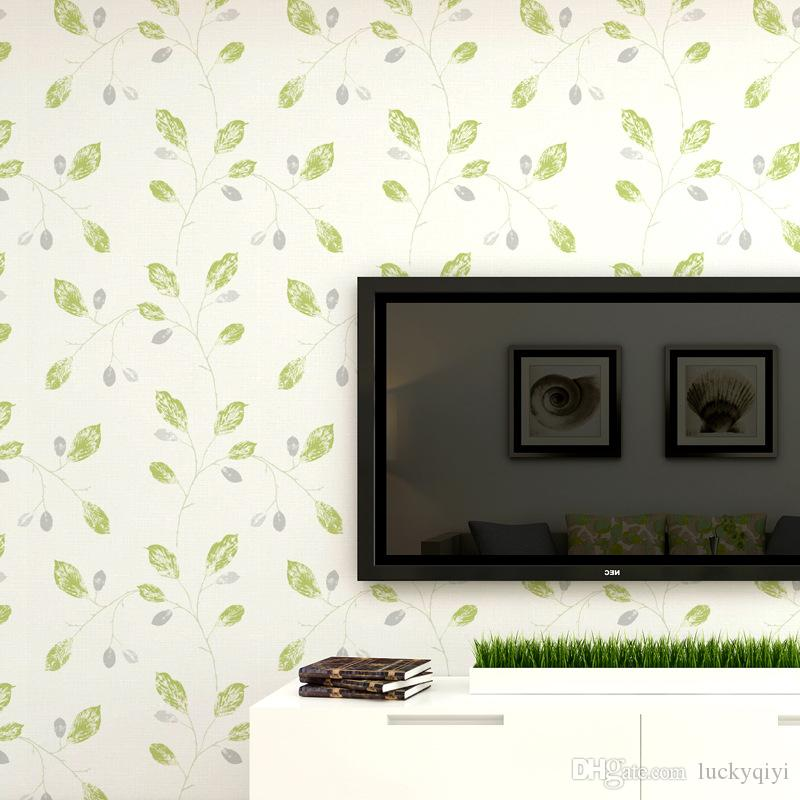 Modern popular leaf warm color non-woven wallpaper DIY solid and with leaves version for living room bedroom furniture TV background