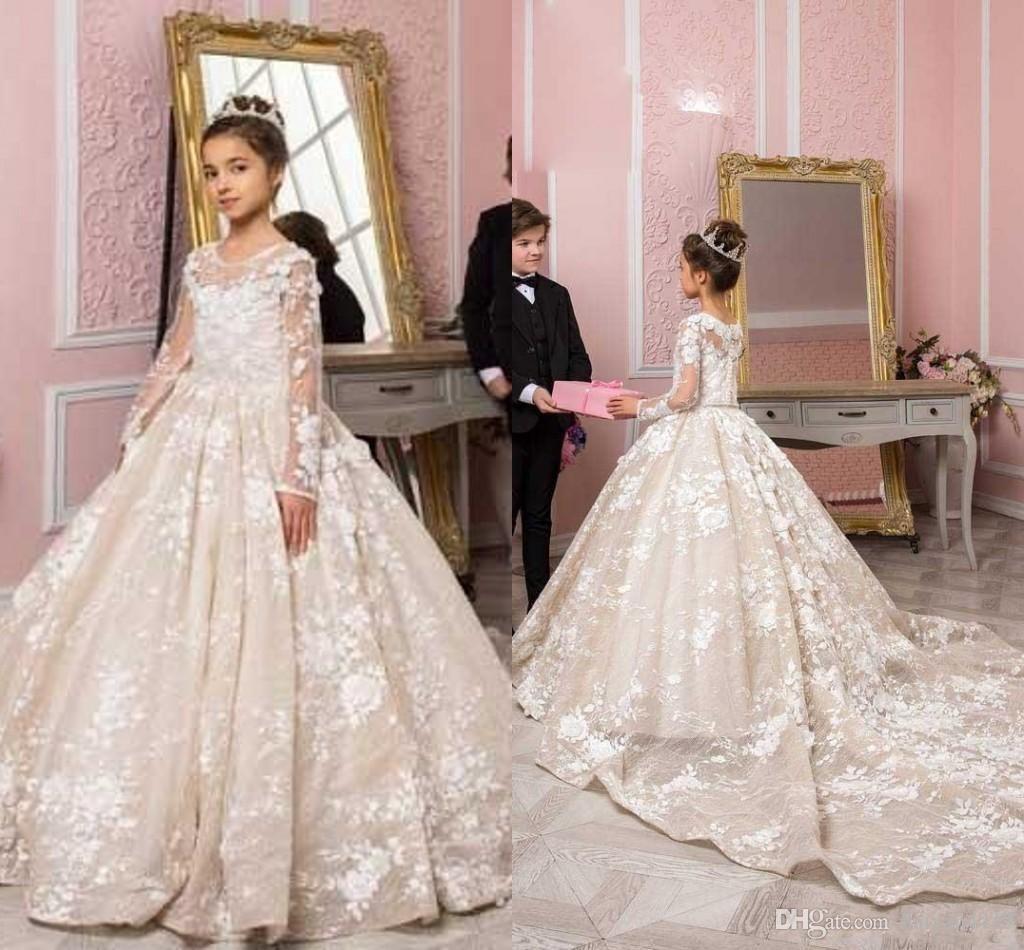 2020 New Princess Flower Girl Weddings 쥬얼리 레이스 Applique Puffy Court Train Little Kids Baby Gowns First Communion Dresses