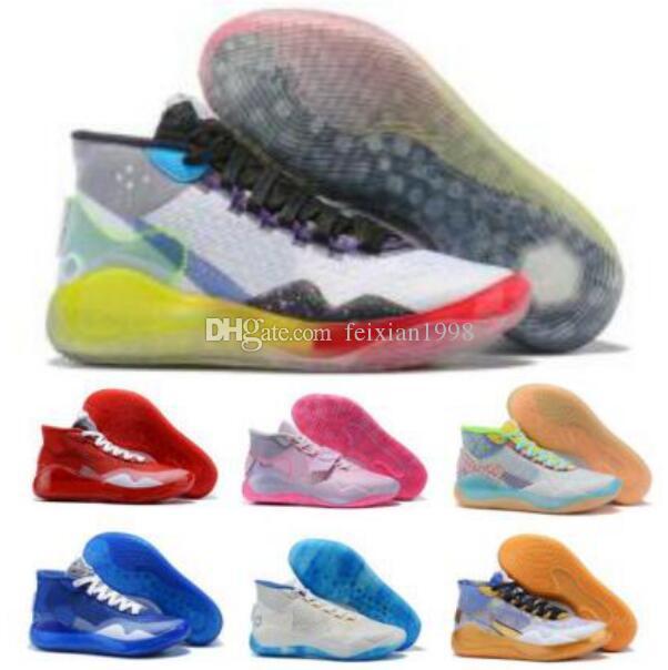 2020 케빈 듀란트 Kd를 12 남성 농구 신발 이모 진주 복숭아 잼 전사 홈 EYBL 국민 12S 팀 은행 골드 새로운 도착 Sneakerss