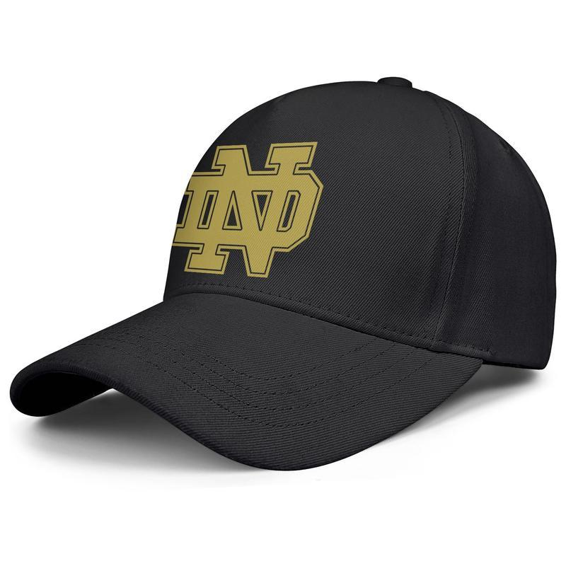 Notre Dame Fighting Irish football logo black mens and womens baseball cap design fitted golf design your own vintage team stylish hats