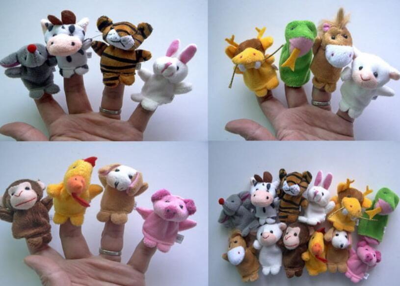 60pcs = 5lot Marionnette en peluche Jouets zodiaque chinois Poupée biologique pour animaux d'anniversaire d'enfant Cartoon bébé préféré cadeau Finger Doll