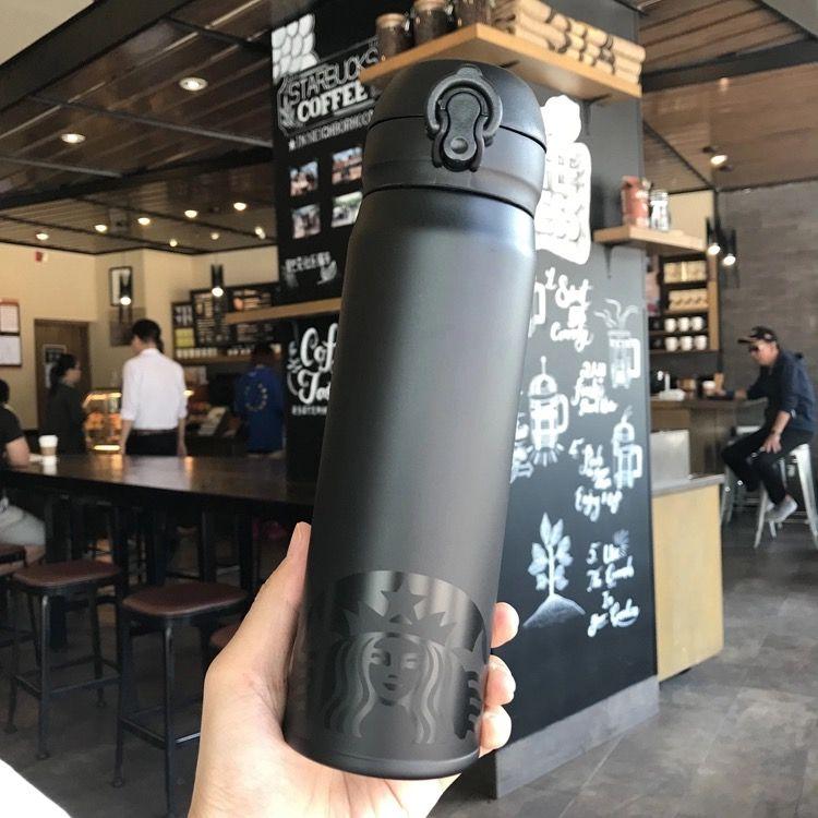 logo Starbucks sirène noir mat tasse vide en acier inoxydable 500ML hors sport dooor accompagnement tasse