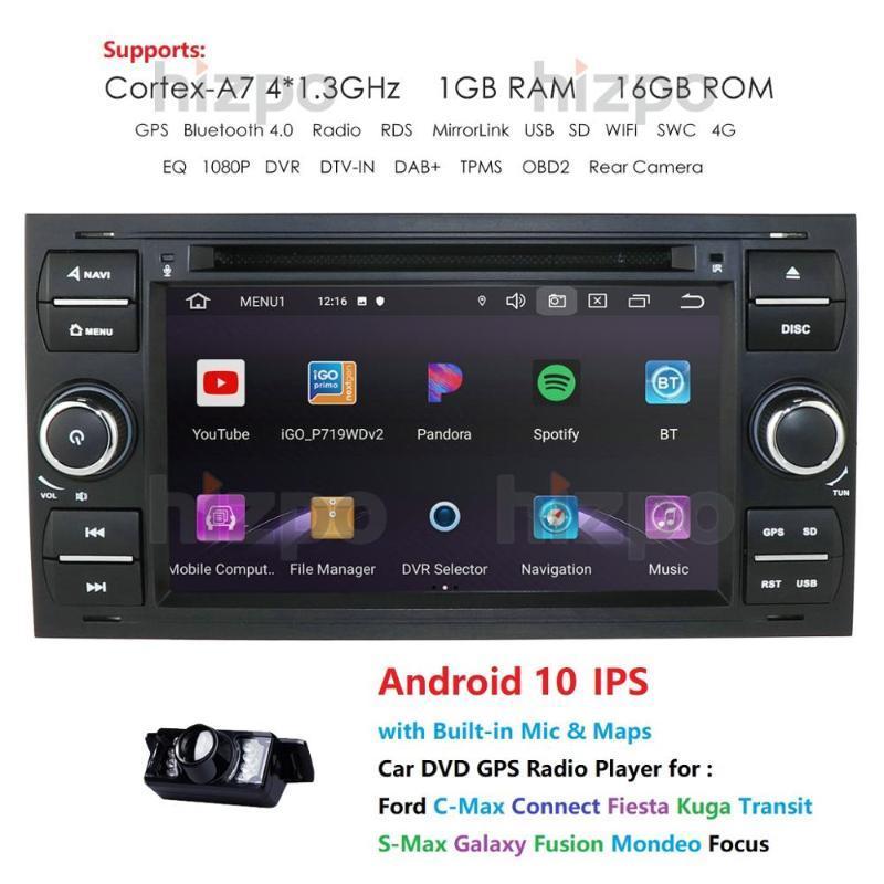 7 '' Android 4 Core 10 2 DIN radio de coche reproductor de DVD para Mondeo S-max Focus C-MAX Galaxy Fiesta de tránsito Fusión Conectar DVD del coche Kuga