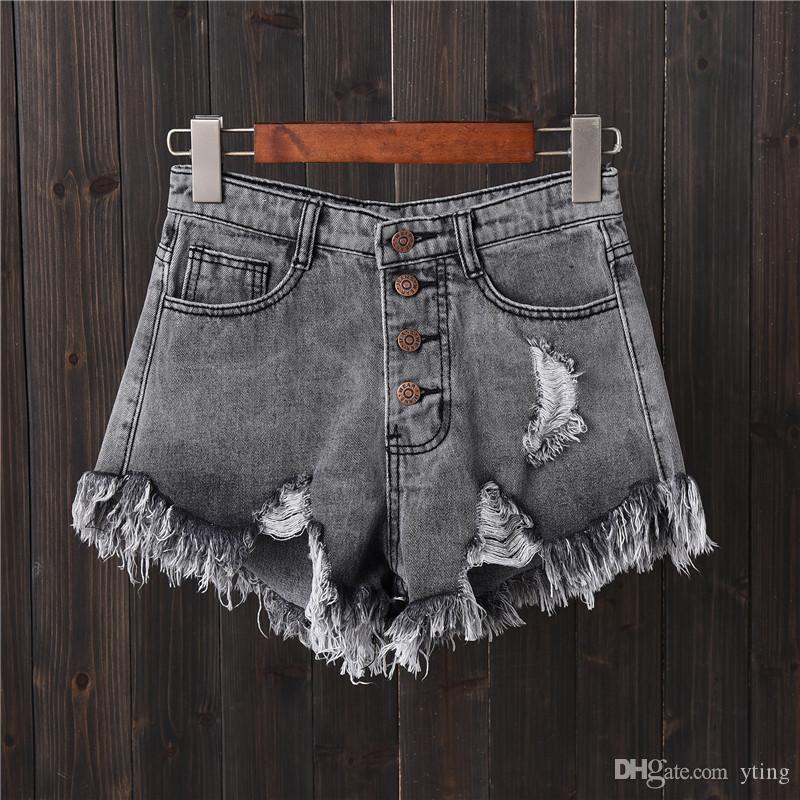 denim shorts gray hole row buckle large size Jeans female summer thin wide leg pants hot pants edge