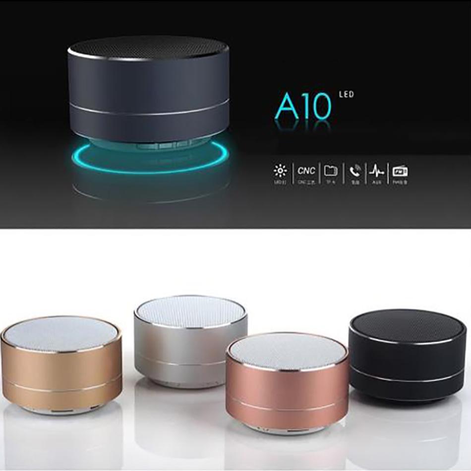 Mini altoparlanti portatili A10 Bluetooth Altoparlante senza fili Handsfree con TF card slot FM LED Audio Player per MP3 Tablet PC in scatola