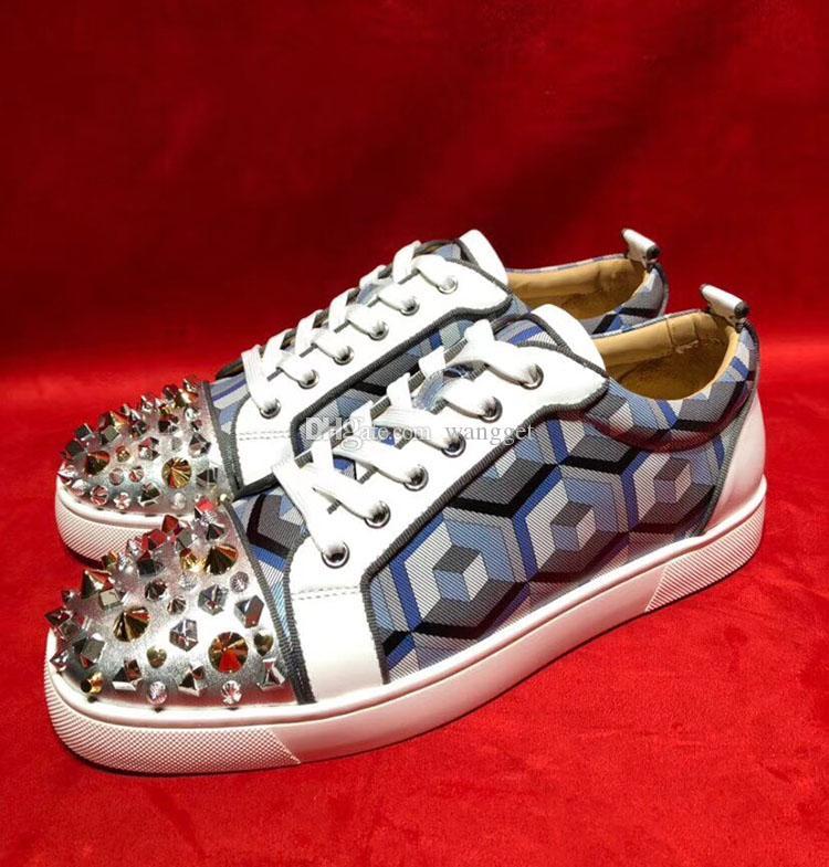 Classic Marca Designer Red Bottom Spikes Sneaker Spikes Homens Orlato Sapatilhas Spikes Sapatos Lisos Sola Vermelho Rebites Liso Handmade Sneakers