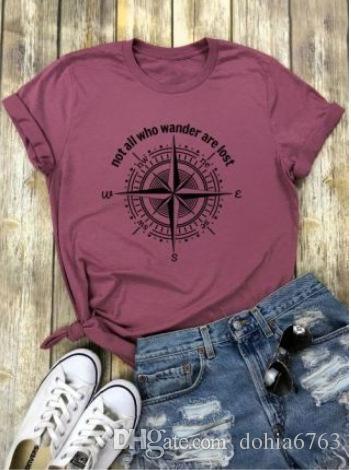 Wander Kayıp olanlar (pusula ile) T-shirt spor pamuklu kumaş baskı ile