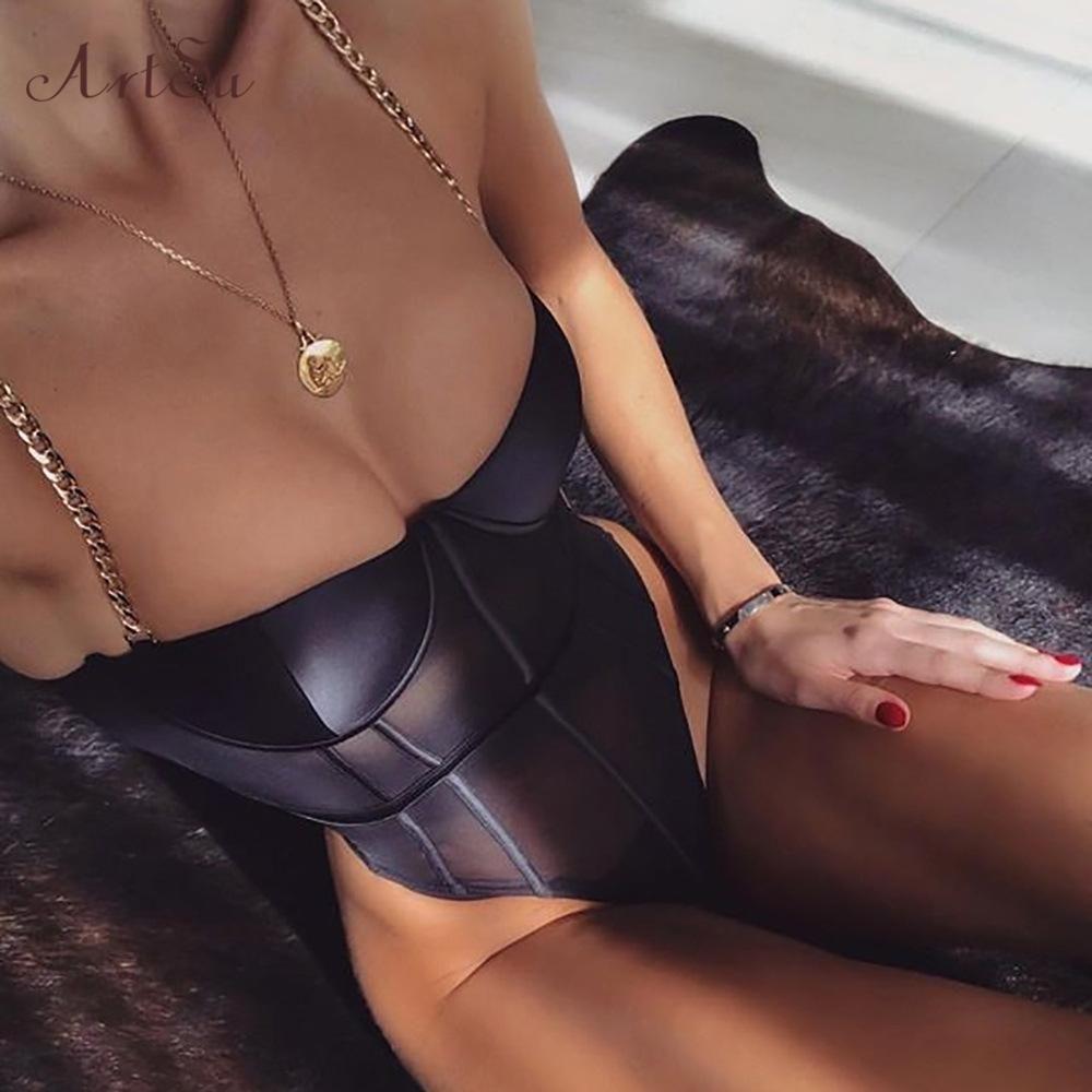 Metallkette Bügel Backless Bodysuit Black Mesh Transparent Bodysuit Bralette Frauen Bodycon Overall-Verein-Partei-Tropfen-Verschiffen