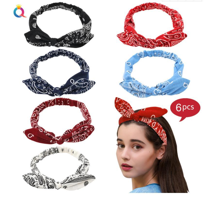 Kadınlar Vintage Elastik Paisley Bandana Çiçek Baskılı Hairband Elastik Tavşan kulak Başkanı Wrap Sevimli Saç Aksesuar Boho Bow Bantlar