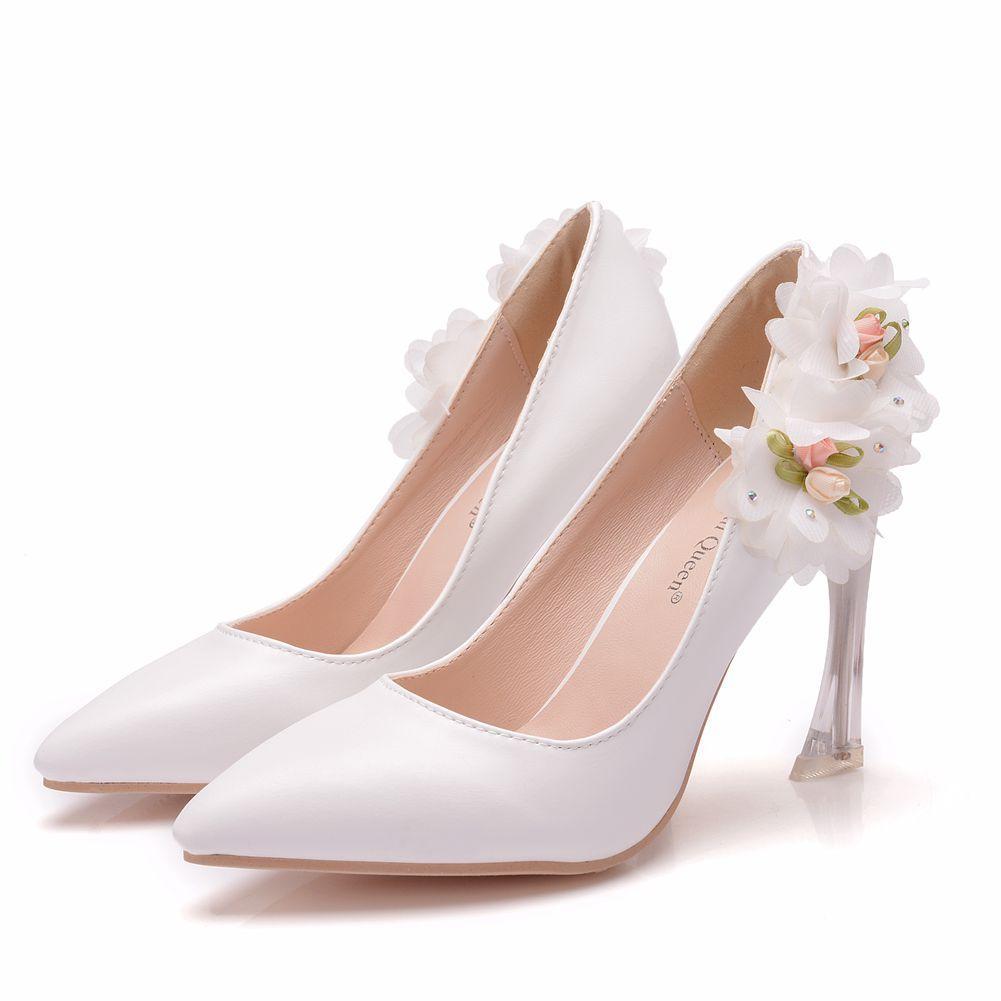 Chaussures Femme Cristal Reine bout fermé mi Heels Fleurs confortables Pompes dentelle mariée mariage chaussures de mariée femme Talons