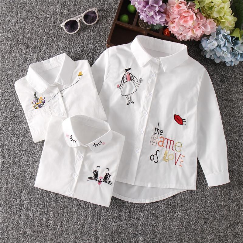 Kızlar Beyaz Bluz Kız Bluzlar Kedi Genç Okulu Giyim Çocuk Üst kız Sevimli Uzun Kollu Çocuk Çizgi Gömlek Güz