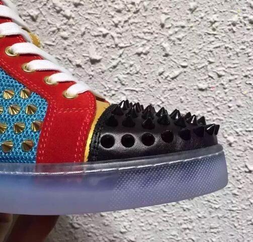 La mejor calidad de las únicas zapatos inferiores rojos de lujo zapatillas de deporte Spikes casuales para mujer para hombre Zapatos de oro pico zapatos planos Calzado formadores de hombres