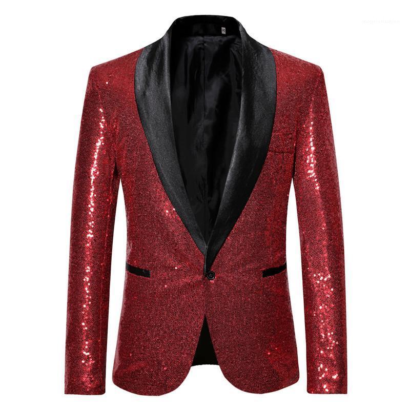 La chaqueta del juego del solo botón chaqueta para hombre de la chaqueta de las lentejuelas Plus Hommes sólido con la etapa botón del diseñador
