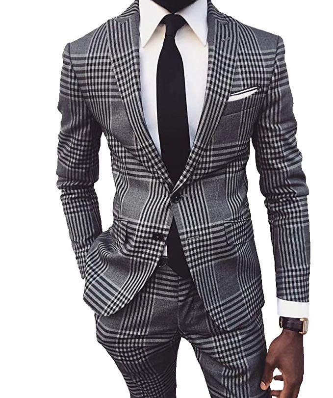 Custom Made Groomsmen Peak Lapel Groom Tuxedos Houndstooth Men Suits Wedding/Prom/Dinner Best Man Blazer ( Jacket+Pants+Tie ) A950