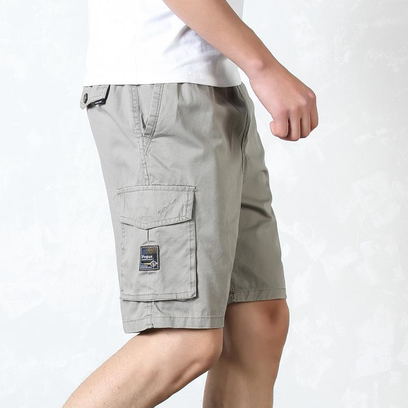 4XL Summer Safari Style Shorts Men Mid Elastic Waist Shorts Homme with Pockets Solid Cotton Shorts for Men Straight Short Pants