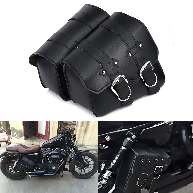 스포츠카 XL883 XL1200 LR 할리에 대한 배 오토바이 가죽 사이드 안장 가방